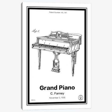Grand Piano Canvas Print #RPA14} by Retro Patents Art Print