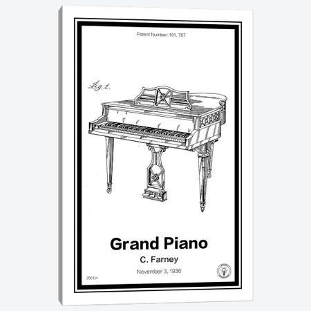 Grand Piano Canvas Print #RPA14} by Retro Patents Art Print