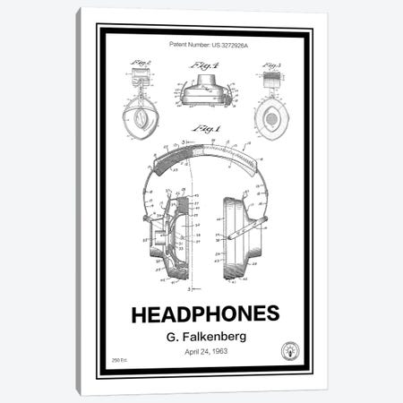 Headphones Canvas Print #RPA15} by Retro Patents Canvas Print