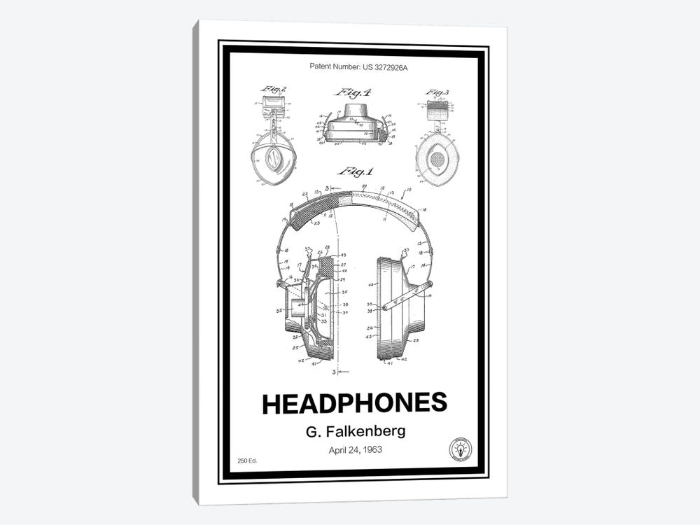 Headphones by Retro Patents 1-piece Canvas Wall Art