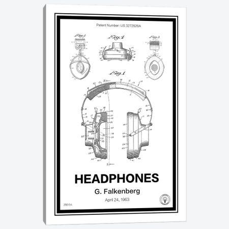 Headphones Canvas Print #RPA15} by Retro Patents Canvas Print
