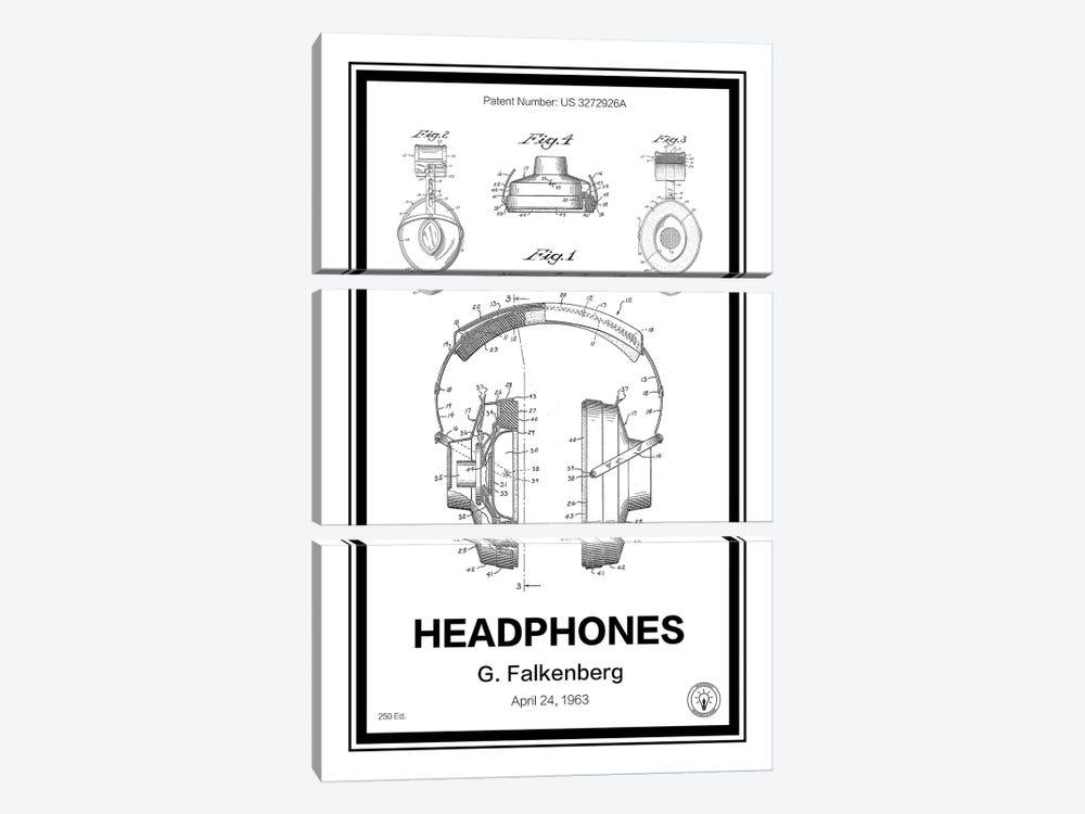 Headphones by Retro Patents 3-piece Canvas Artwork
