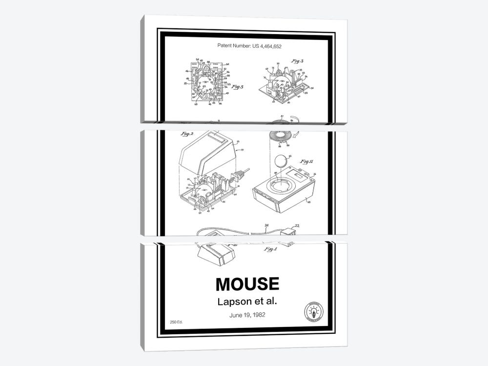 Mouse by Retro Patents 3-piece Canvas Art Print