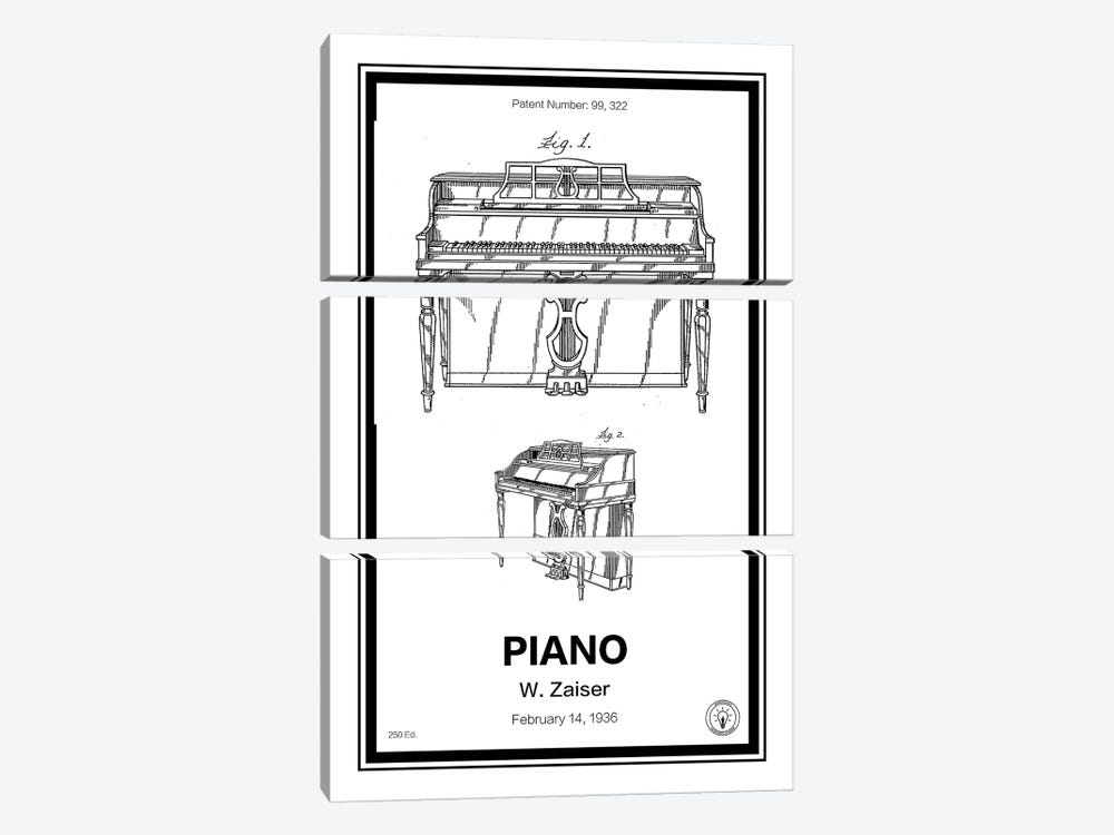 Piano by Retro Patents 3-piece Canvas Art