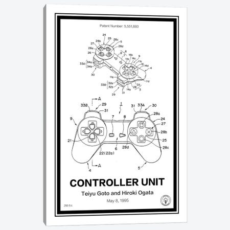 Playstation Controller Canvas Print #RPA28} by Retro Patents Canvas Print