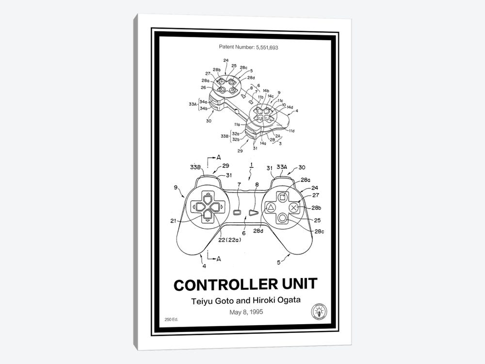 Playstation Controller by Retro Patents 1-piece Canvas Artwork
