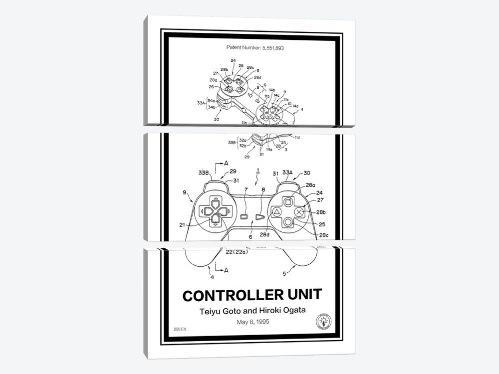 Playstation Controller by Retro Patents 3-piece Canvas Artwork