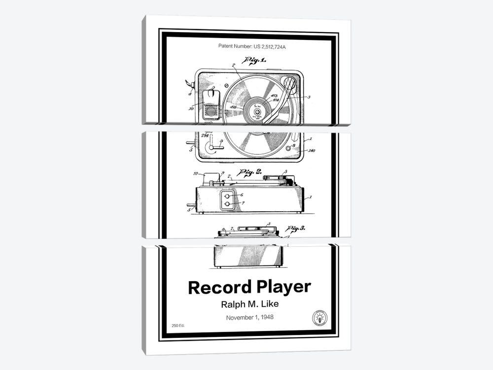 Record Player by Retro Patents 3-piece Canvas Art Print