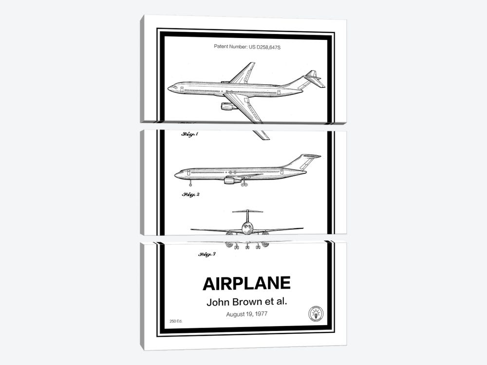 Airplane by Retro Patents 3-piece Canvas Print