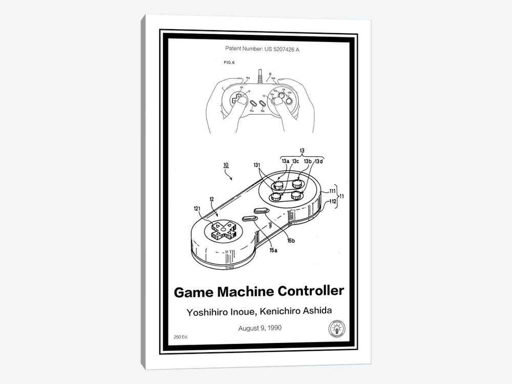 SNES Controller by Retro Patents 1-piece Canvas Wall Art