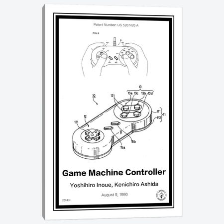 SNES Controller Canvas Print #RPA31} by Retro Patents Canvas Art
