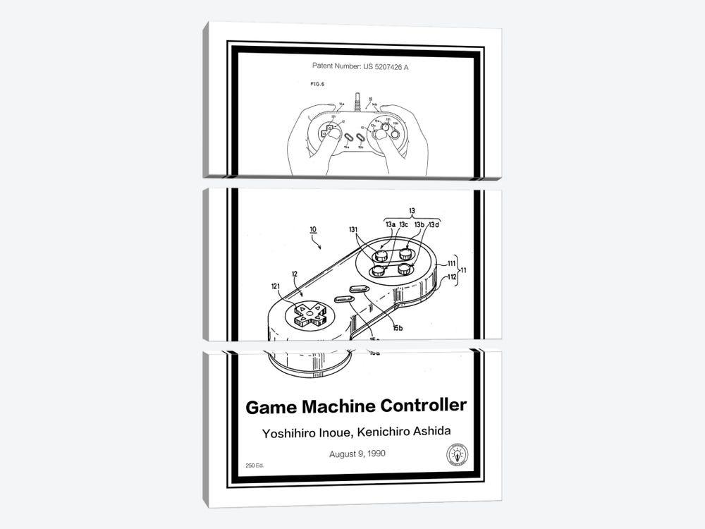 SNES Controller by Retro Patents 3-piece Canvas Artwork