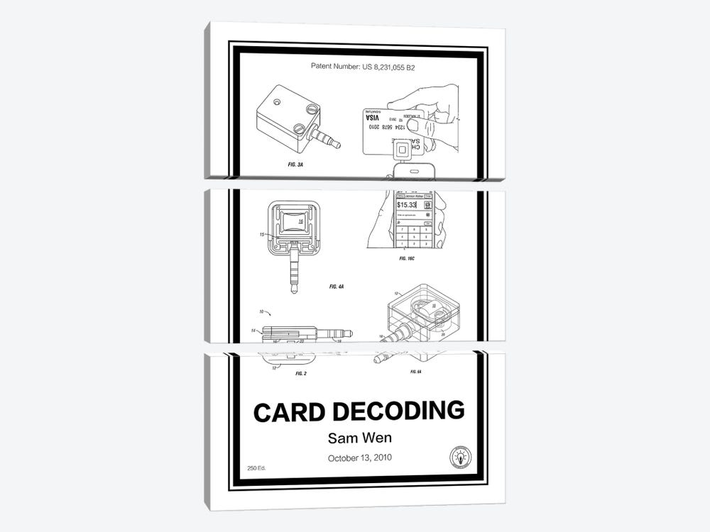 Square, Card Decoder by Retro Patents 3-piece Canvas Print