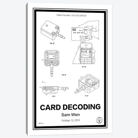Square, Card Decoder 3-Piece Canvas #RPA32} by Retro Patents Canvas Artwork