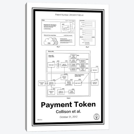 Stripe Payment Token Canvas Print #RPA33} by Retro Patents Canvas Wall Art
