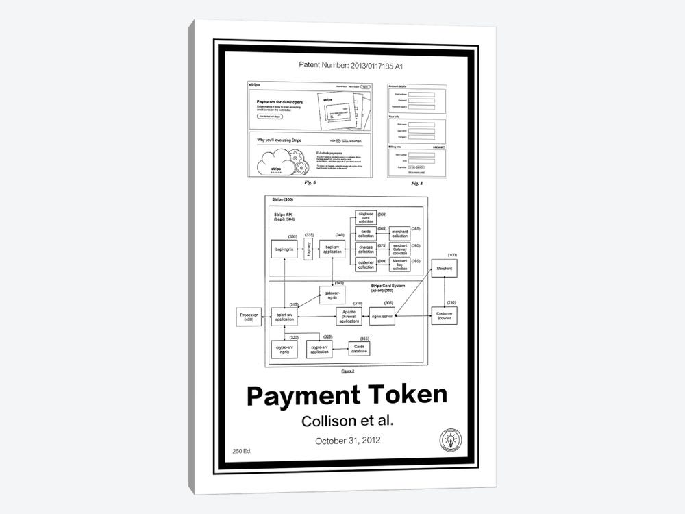 Stripe Payment Token by Retro Patents 1-piece Canvas Artwork