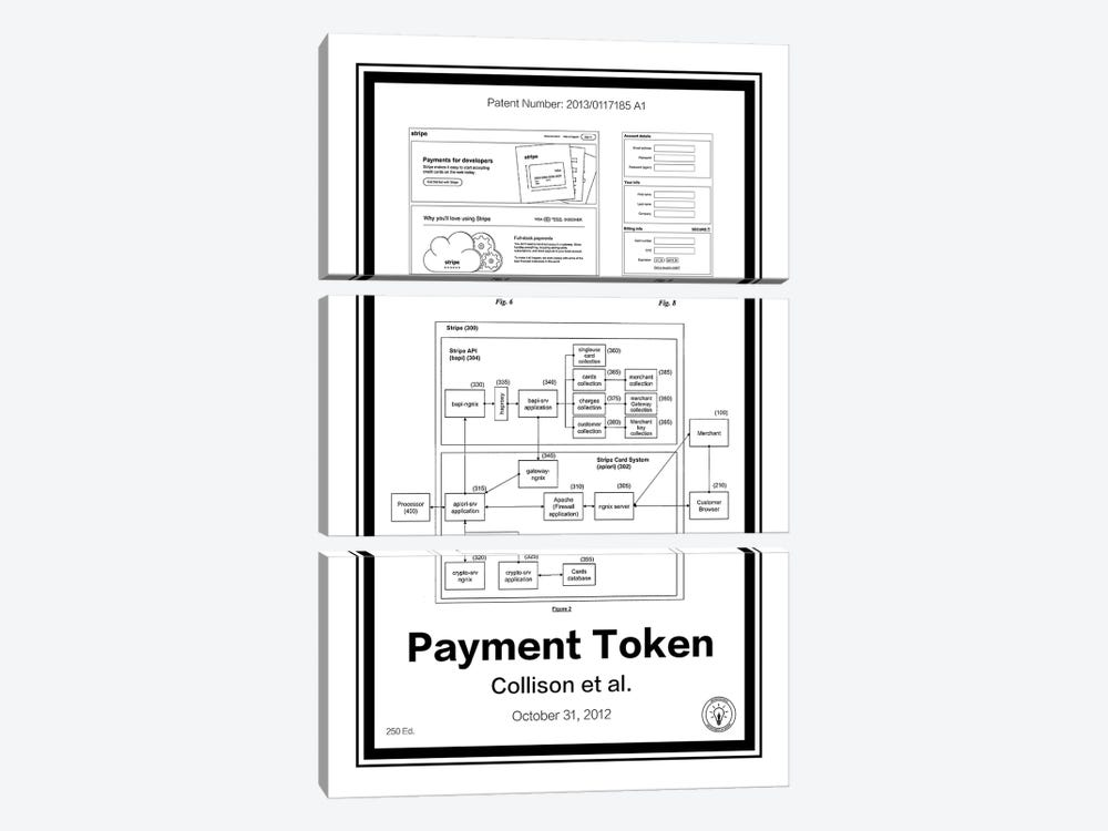 Stripe Payment Token by Retro Patents 3-piece Canvas Artwork