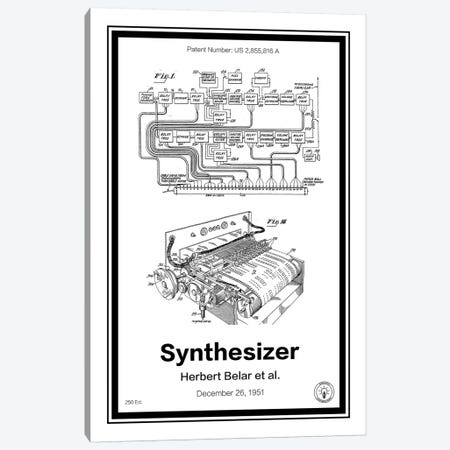 Synthesizer Canvas Print #RPA34} by Retro Patents Art Print