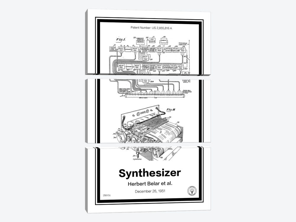 Synthesizer by Retro Patents 3-piece Canvas Art Print