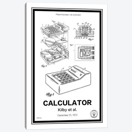 Calculator 3-Piece Canvas #RPA7} by Retro Patents Canvas Print