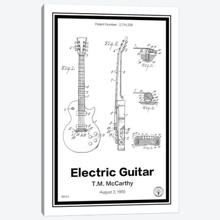 Electric Guitar Canvas Print #RPA9} by Retro Patents Canvas Wall Art