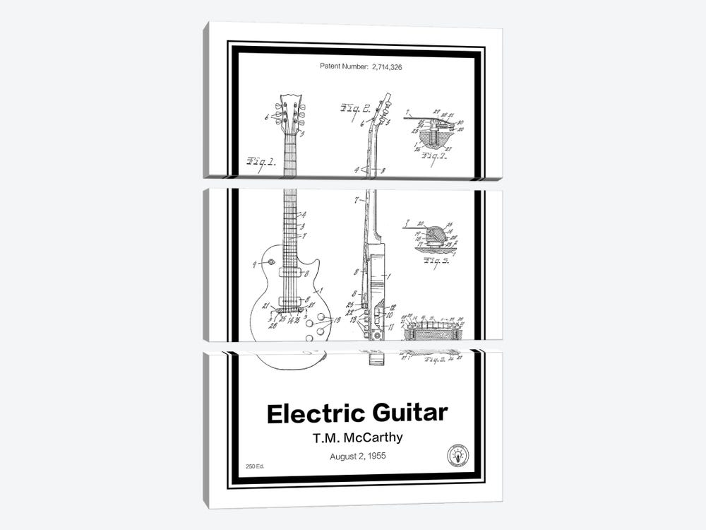 Electric Guitar by Retro Patents 3-piece Canvas Wall Art