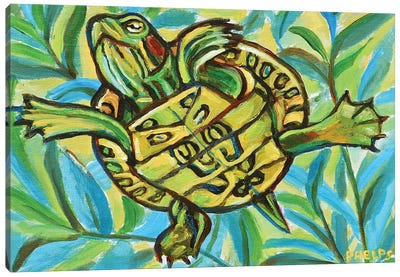 Slider Turtle Swimming Canvas Art Print