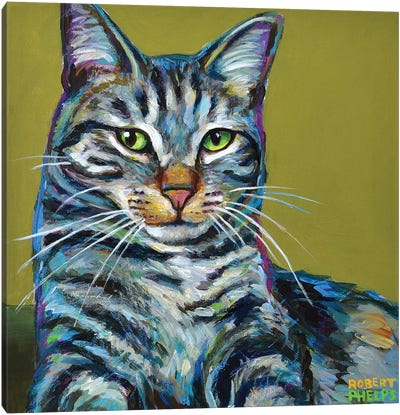 Striped Tabby on Green Canvas Art Print