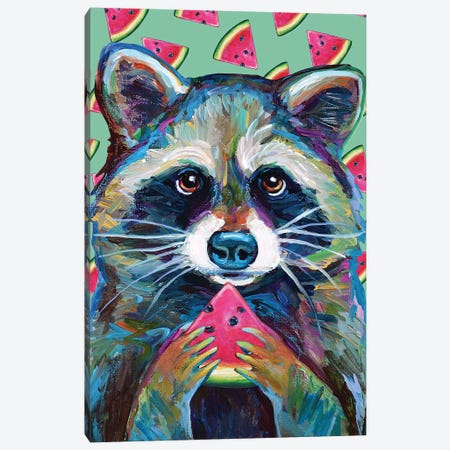 Watermelon Raccoon Canvas Print #RPH117} by Robert Phelps Art Print