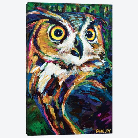 Great Horned Owl Canvas Print #RPH131} by Robert Phelps Canvas Wall Art