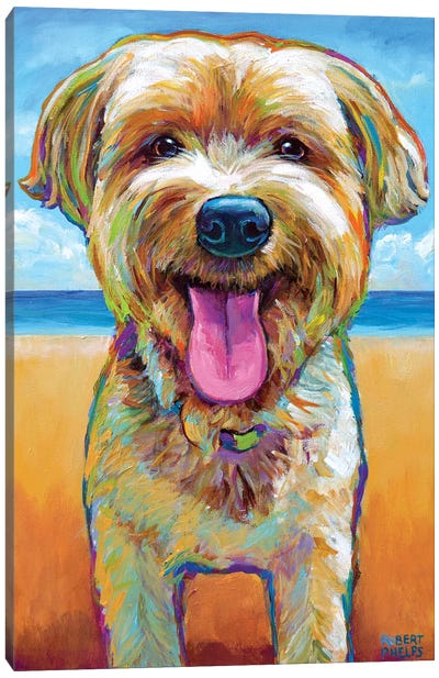 Yorkie On The Beach Canvas Art Print