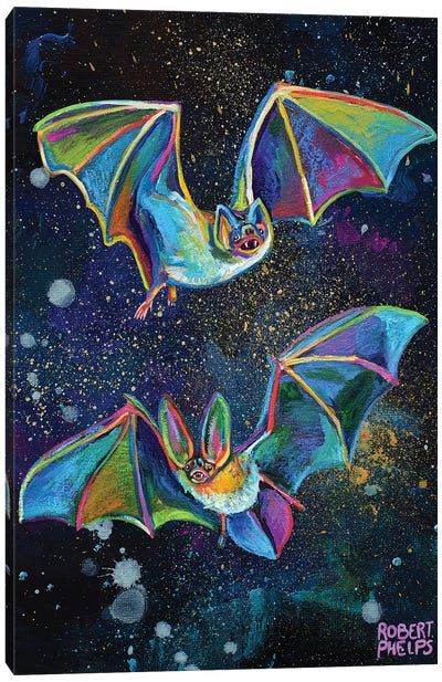 Bats And Night Sky Canvas Art Print