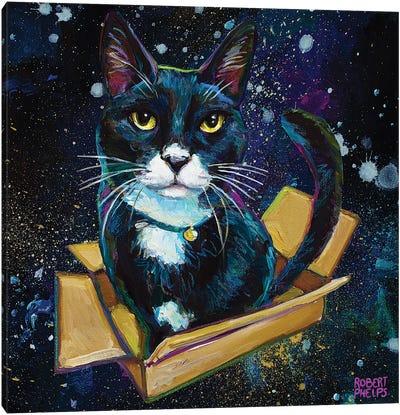Tuxedo Cat In Space Canvas Art Print