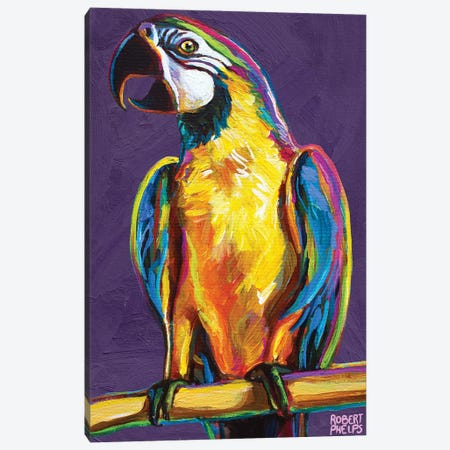 Parrot On Violet Canvas Print #RPH192} by Robert Phelps Canvas Artwork