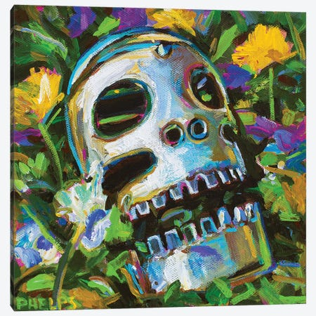 Flower Skull Canvas Print #RPH194} by Robert Phelps Canvas Print
