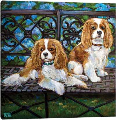 Cavalier King Charles Spaniels In The Garden Canvas Art Print