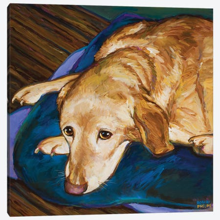Napping Yellow Lab Canvas Print #RPH197} by Robert Phelps Canvas Art Print