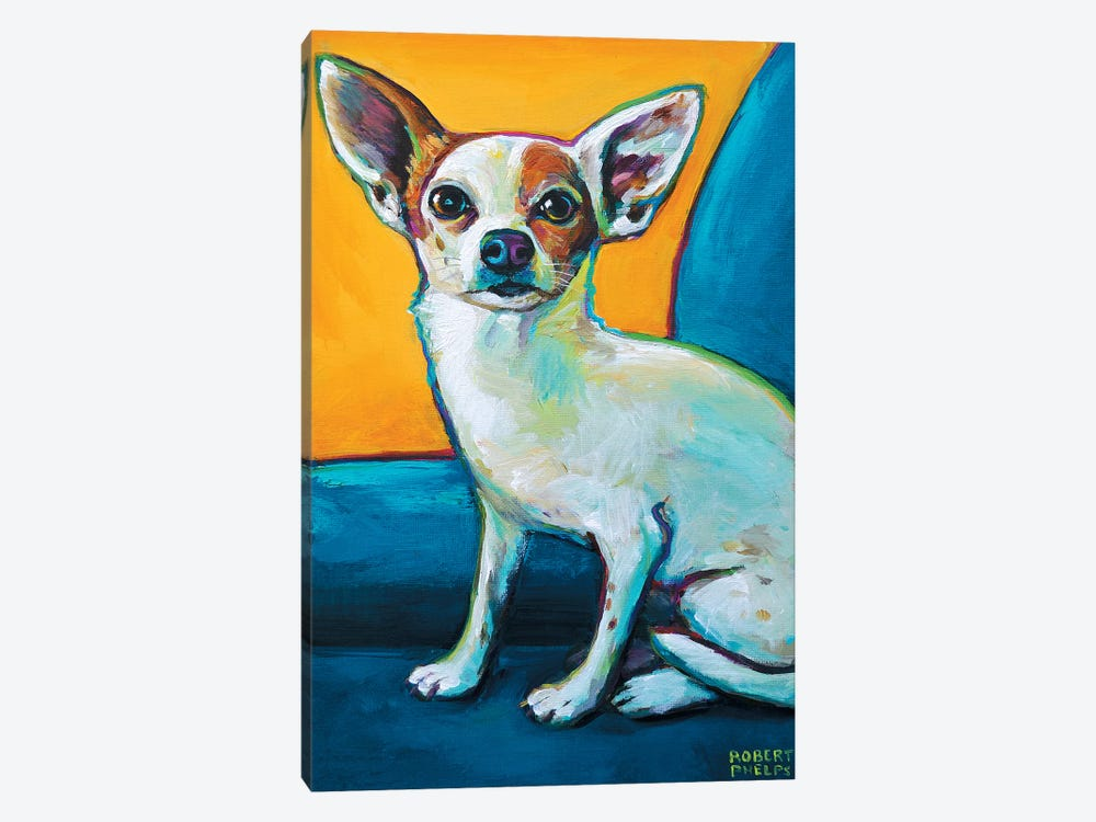 Chihuahua In Chair by Robert Phelps 1-piece Canvas Art