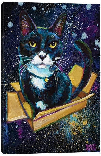 Galactic Tuxedo Kitty Canvas Art Print