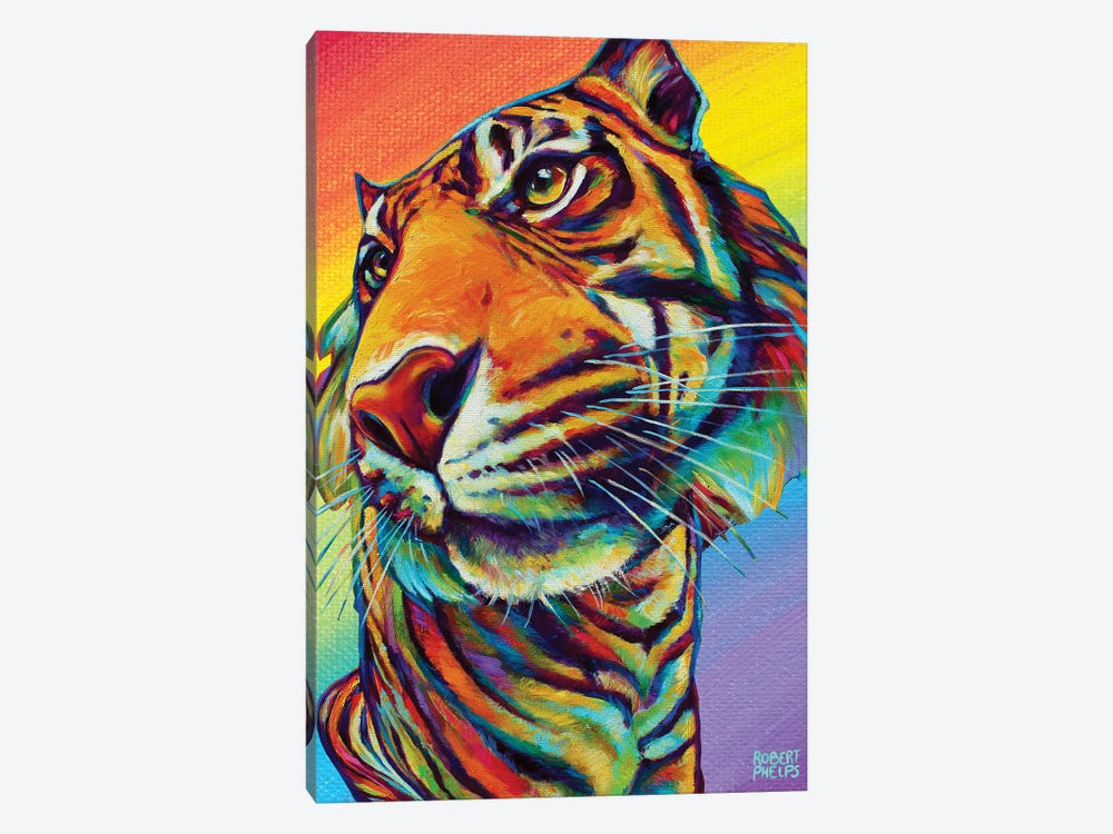 Rainbow Tiger by Robert Phelps 1-piece Canvas Art