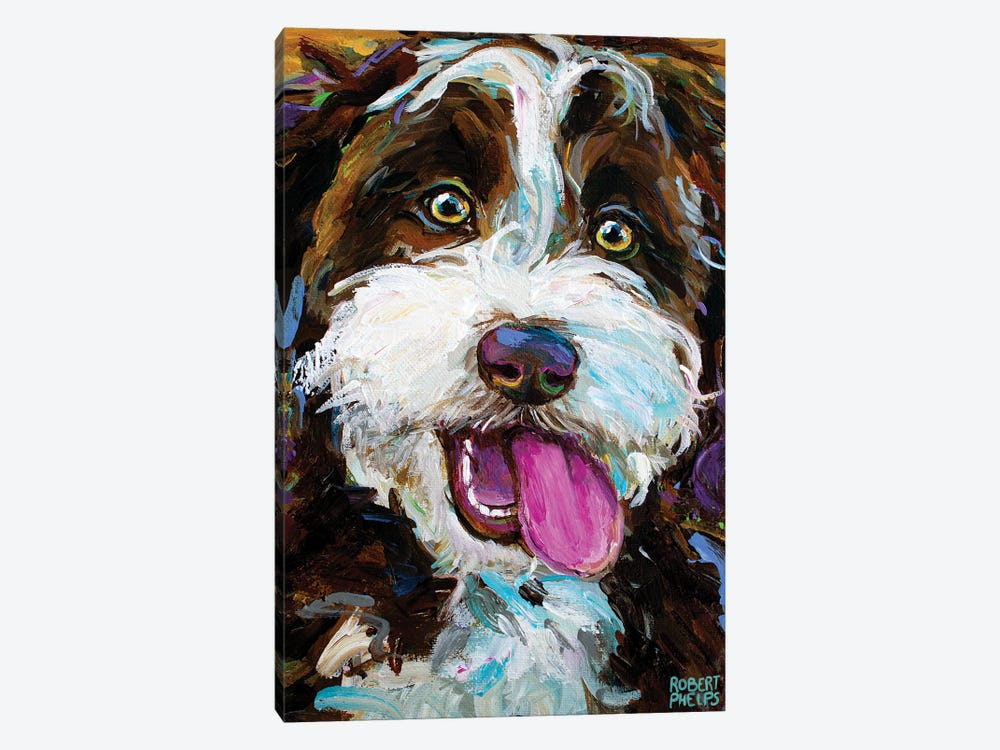 Happy Aussiedoodle I by Robert Phelps 1-piece Canvas Wall Art