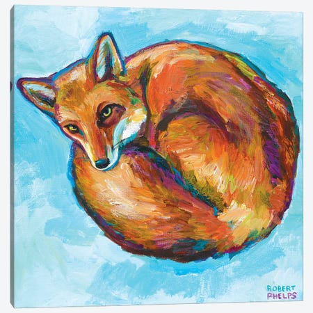 Cozy Fox Canvas Print #RPH22} by Robert Phelps Canvas Wall Art