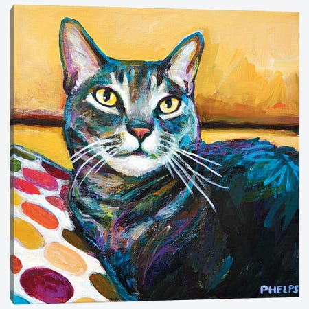 Cy The Cat Canvas Print #RPH23} by Robert Phelps Canvas Art