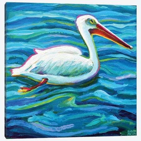 Swimming White Pelican II Canvas Print #RPH283} by Robert Phelps Canvas Artwork