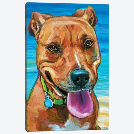 Beach Dog Canvas Print #RPH2} by Robert Phelps Art Print