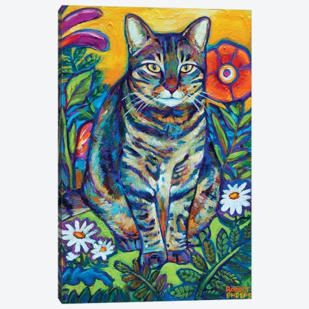 Garden Cat Canvas Print #RPH32} by Robert Phelps Art Print