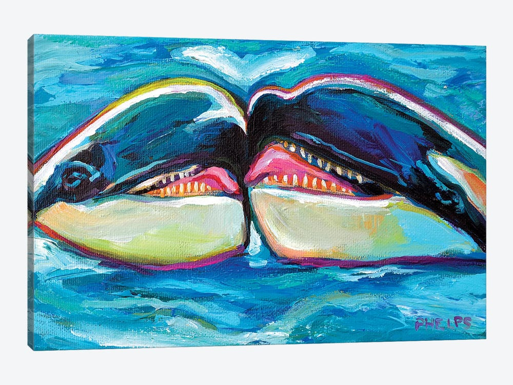 Orcas 1-piece Canvas Wall Art