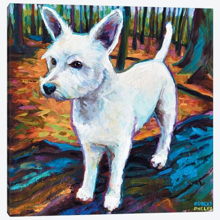 Westie In The Woods Canvas Print #RPH77} by Robert Phelps Canvas Artwork