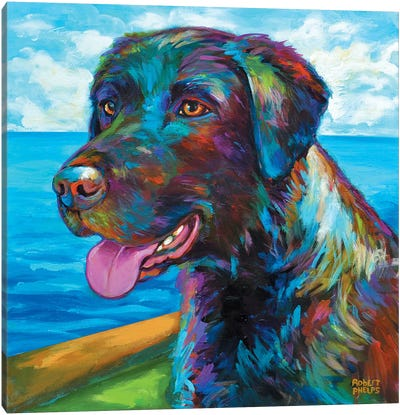 Wet Black Lab Canvas Art Print