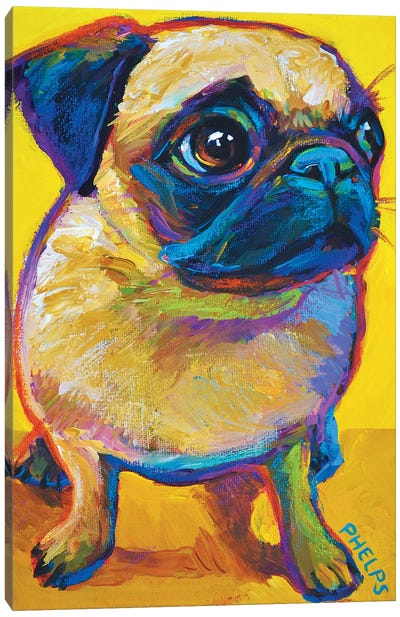 Yellow Pug Canvas Art Print